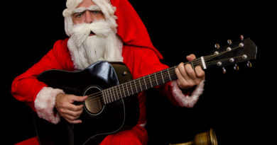 Santa playing guitar