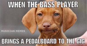 Bass player pedalboard