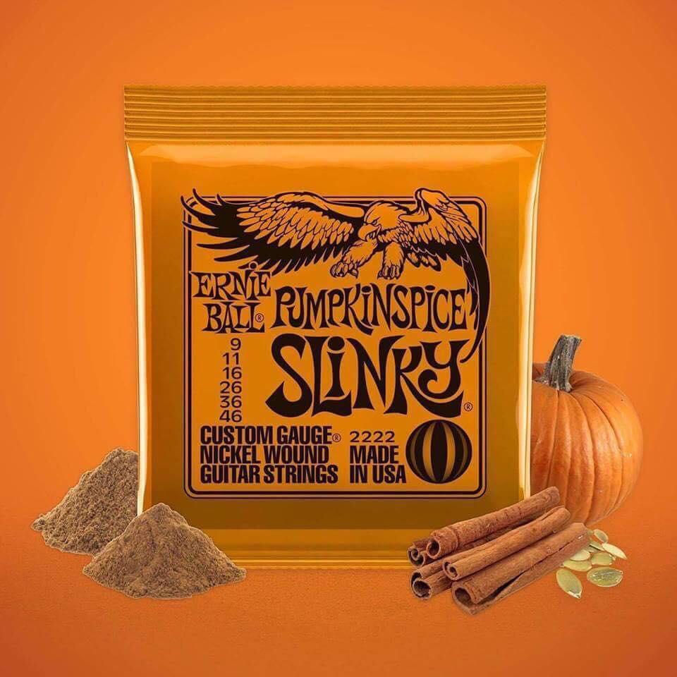 Pumpkin spiced Slinky guitar strings