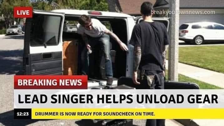 Singer helps unload gear