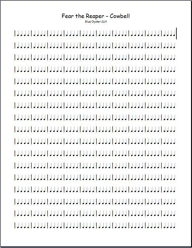 Fear the reaper cowbell sheet music