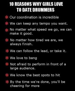 Top reasons why girls love to date drummers