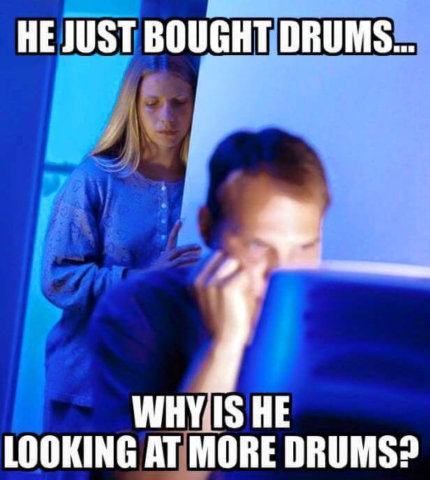 Why is he looking at more drums