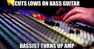Bassist turns up amp