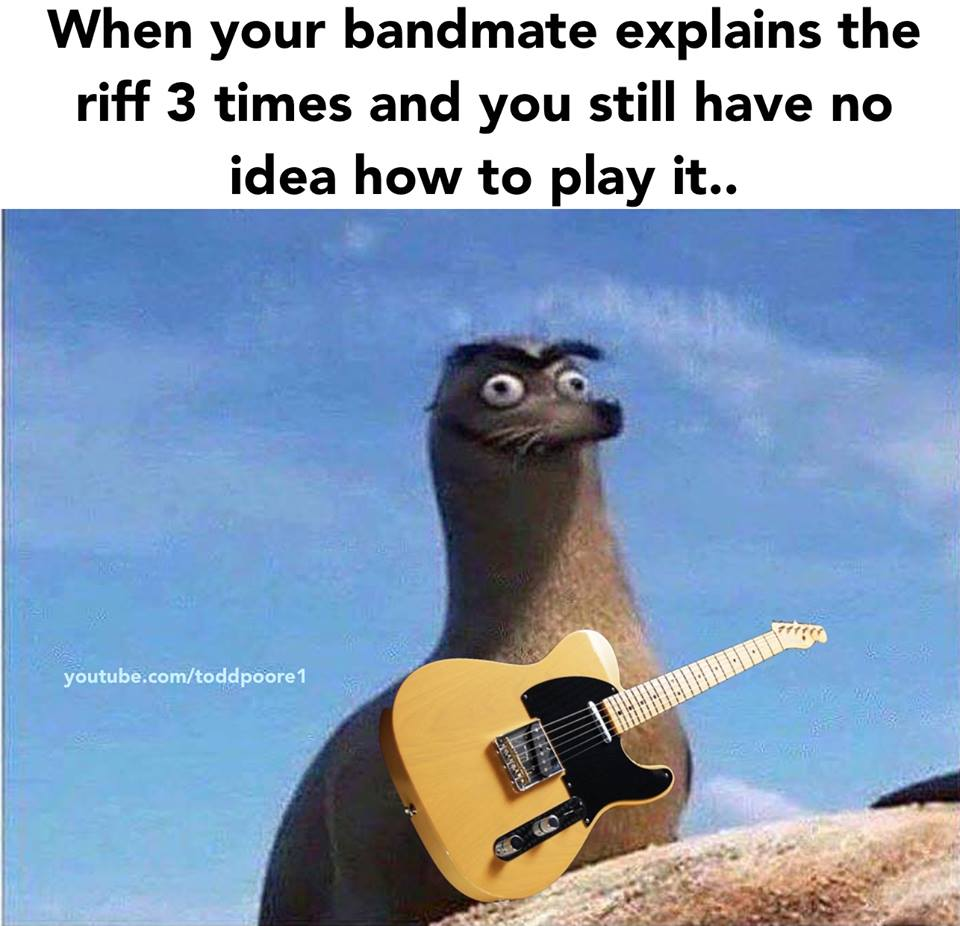 Explains the riff three times
