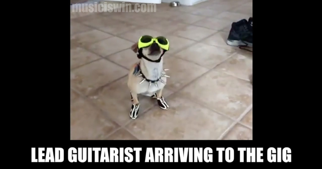 Lead guitarist arriving to a gig