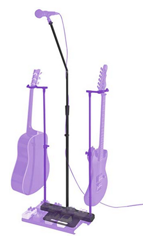 Microphone stand with guitar stand
