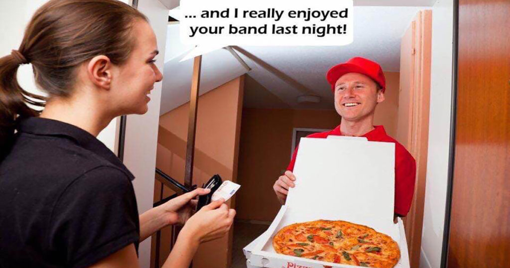 Musician pizza delivery guy