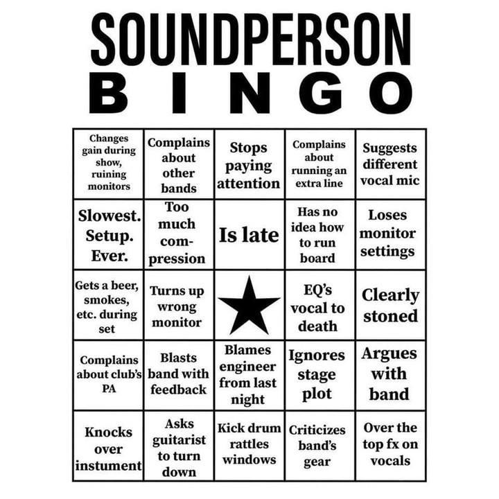 Soundperson bingo